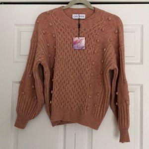 Chicwish Peach Pom Pom Sweater